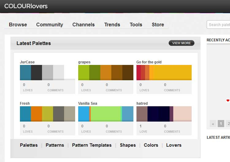 ColourLovers color palettes