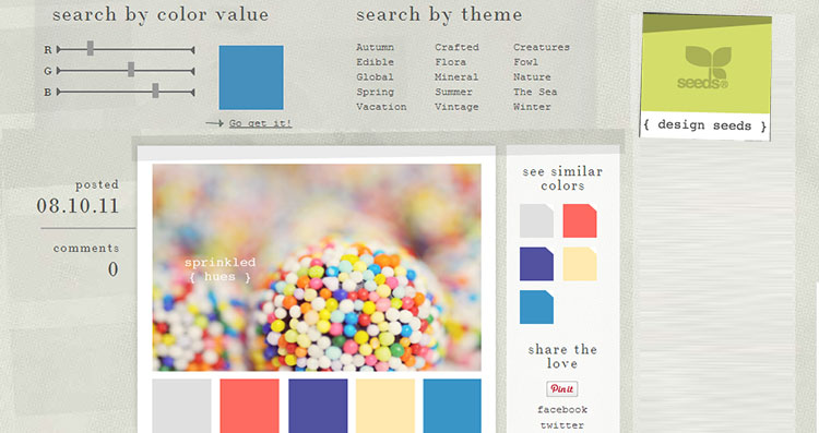 Design Seeds Color Palette Search