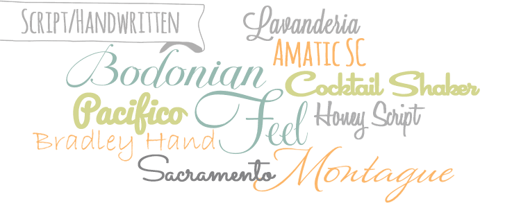Script/Handwritten typefaces/fonts from the Beginner's Guide to Fonts for Your Blog: How to Choose Font Combinations at www.DesignYourOwnBlog.com