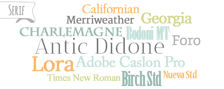 Serif typefaces/fonts from the Beginner's Guide to Fonts for Your Blog: How to Choose Font Combinations at www.DesignYourOwnBlog.com